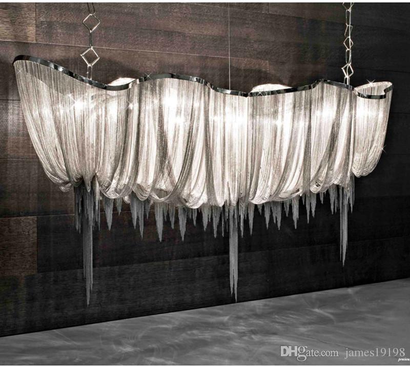 Boat Tassel Chain Pendant Lamp Shade Aluminum Chain Chandelier Ceiling Light for Dinning Room Living Room Home Decor Hotel Bar