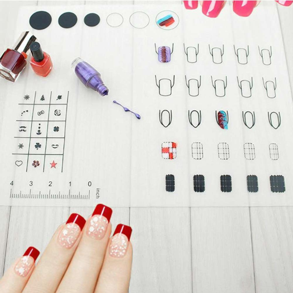 Foldable Nail Art Practice Silicone Coloring Pad Mat Polish Sticker ...