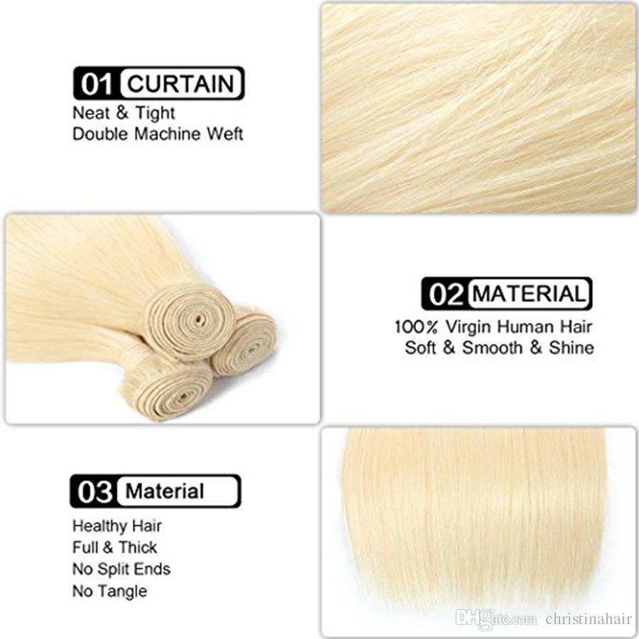 European Blond #613 100% Unprocessed Remy Human Hair Weave White Blonde Straight 3 Bundles Virgin Hair Sew in Hair Extensions