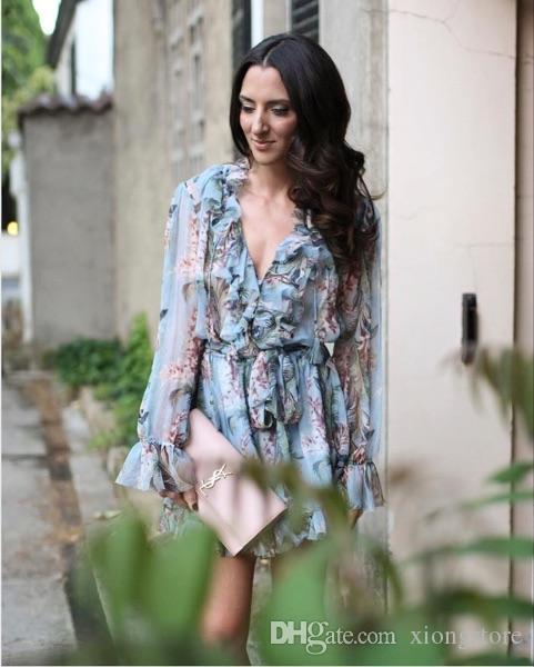 2019 femmes robes été longue volants manches tunique plage playuits femmes bleu imprimé floral combinaison sexy haute qualité marque barboteuses 2017