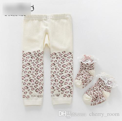 Baby Girls Pantyhose Tights Cute pants Leggings With Lace bow Socks Sets Leopard Toddler PP Tight Pants New Infant Leggings Sock Suits A6495