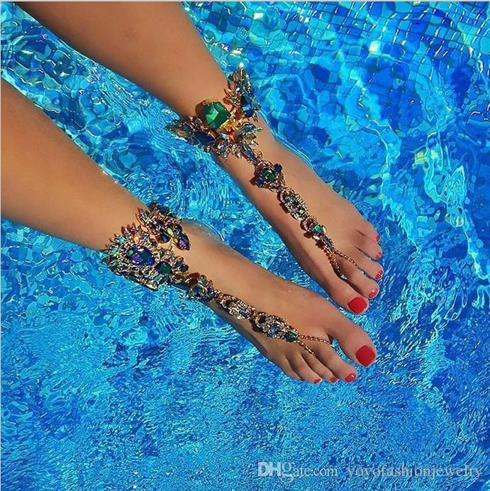 Bracelet de cheville pour la plage vacances sandales chaîne de jambe sexy femme cristal cheville pied bijoux tarte jambe cristal cheville