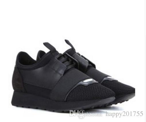 Новый Дизайнер Роскошный Бренд Моды Человек Повседневная Обувь Плоская Кожа Сетки Лоскутное Тренер Моды Обувь Бегун Размер 35-46