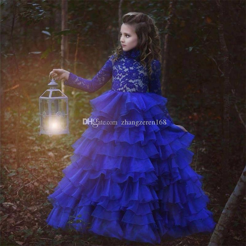 2017 New Arrival Long Sleeve Ball Gown Girls Pageant Dresses High ...