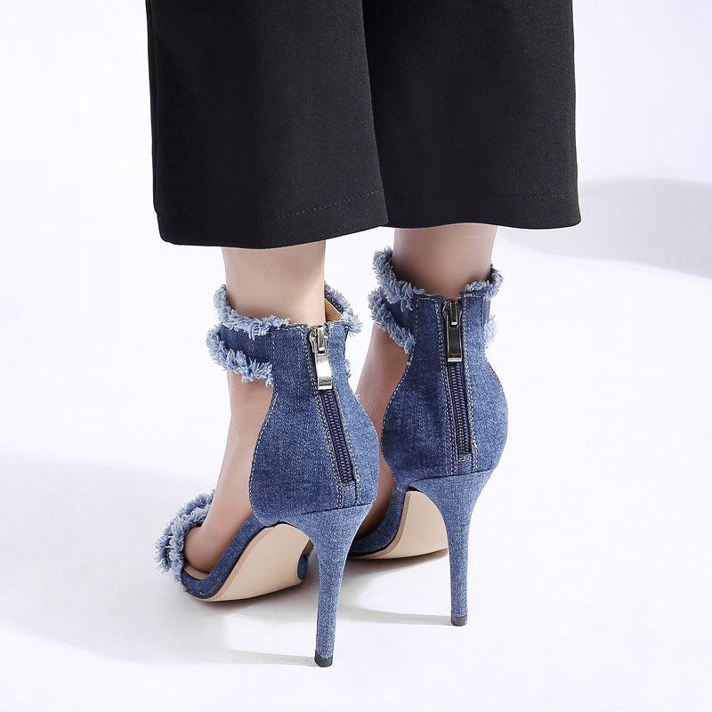 Arden Furtado 2018 summer shoes for woman blue denim jeans sandals ankle-wrap high heels cover heel open toe women back zipper Stiletto