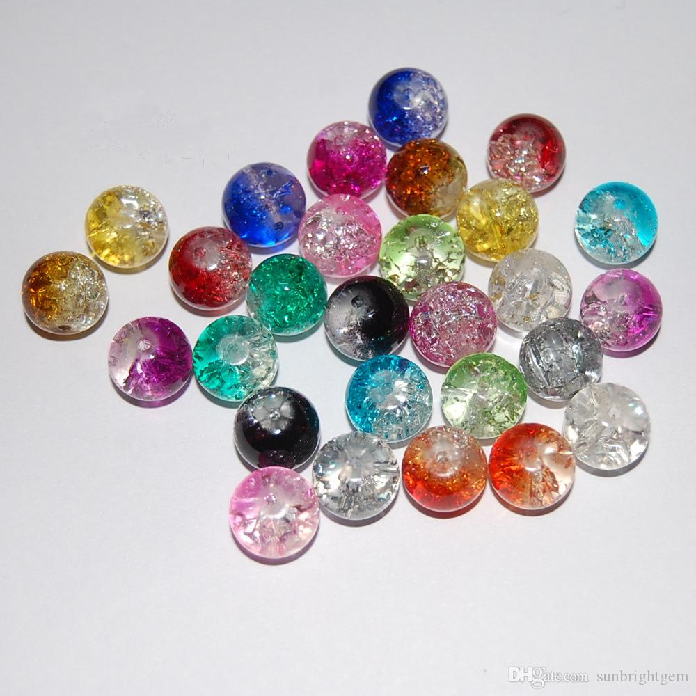 2019 4mm 6mm 8mm 10mm 12mm Round Crackled Glass Beads
