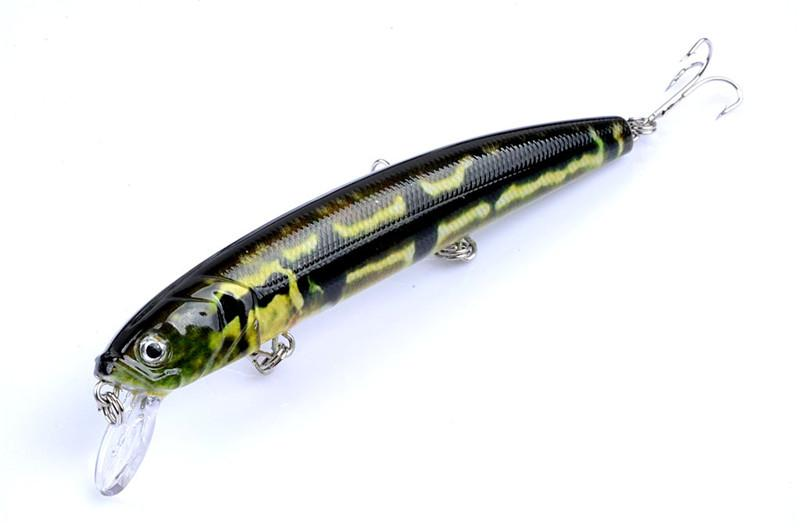 New Bright Color Laser minnow fishing lures hooks 12.5cm 16g 3D Eyes PS Painted plastic Isca Artificial bass baits