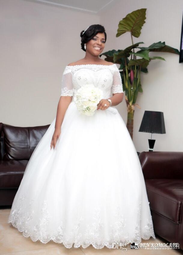 Plus Size 2019 Vestidos do casamento de Cristal Appliqued Africano manga curta Beading laço das pérolas vestidos de noiva Corset Voltar vestido de noiva noivas