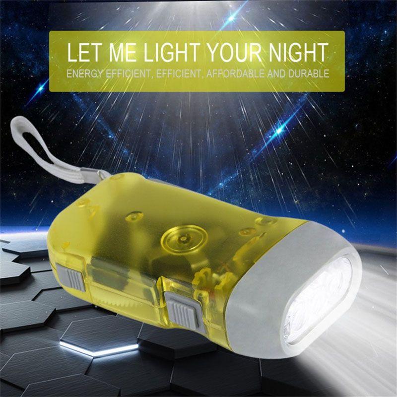 Flashlight 3 LED Hand Pressing Dynamo Crank Power Wind Up Torch Light Hand Press Crank Camping Lamp Lights ZJ0476