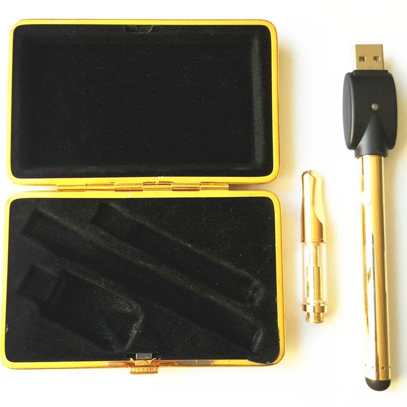 Kit Mini Vape Kit tanque de vidro de Ouro 510 Rosca 3.7-4.1 V Starter Kits Vape E Cigs VS EGO CE3 Bud caneta toque