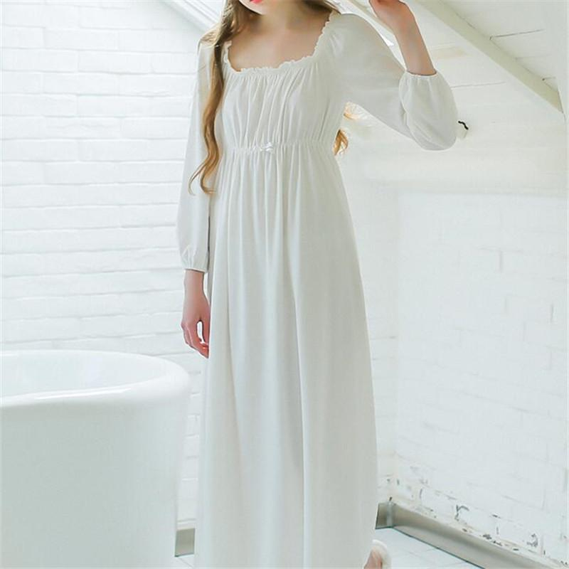 45fc4f22ca 2019 Wholesale Women Sleepwear Long White Cotton Nightgown Womens Dresses  Princess Vintage Indoor Clothing Comfortable Sleeping Dress  LL21 From  Benedica