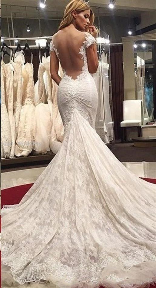2017 neue Elegante Arabeske Mermaid Brautkleider Volle Spitze Kappen-hülsen Appliques Sexy Schatz Backless Sweep Zug Brautkleider