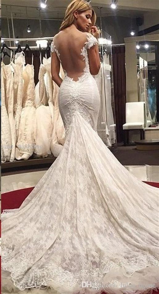 2017 Nuovo Elegante Stile Arabo Sirena Abiti Da Sposa Completa In Pizzo Cap Maniche Appliques Sexy Sweetheart Backless Sweep Treno Abiti Da Sposa