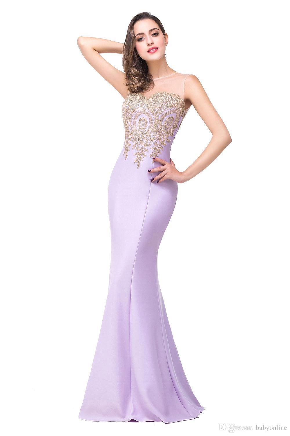 Robe De Soiree Cheap Sexy Mermaid Prom Dresses 2019 Sheer Jewel Neck Appliques Sleeveless Long Formal Evening Dresses CPS262