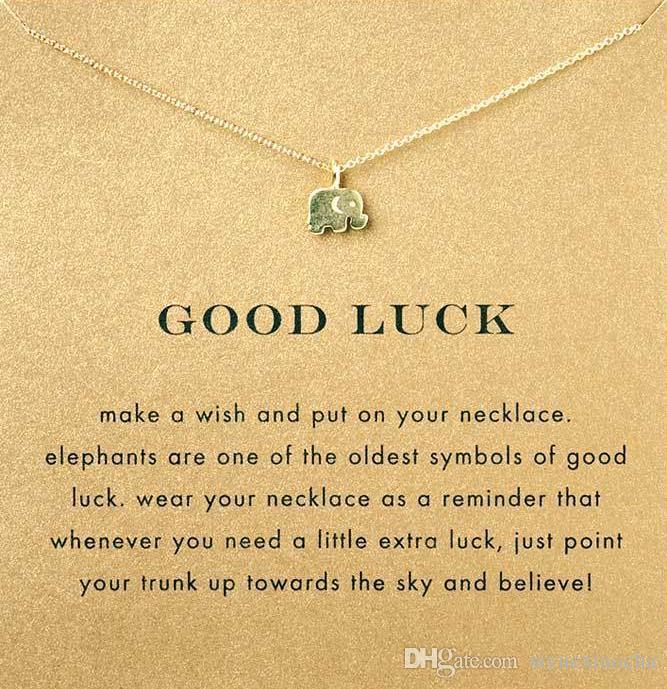 Com cartão! Cor de prata e ouro bonito Dogeared Colar com pingente de elefante boa sorte elefante, sem desbotar, frete grátis e alta qualidade.