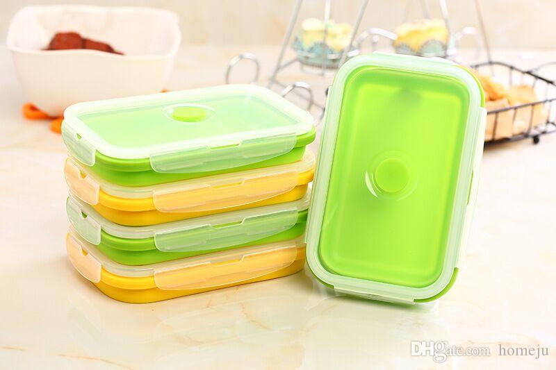 Wholesale Collapsible SiLunch Box Food Container Picnic Storage 750ml Silicone Collapsible Lunch Box