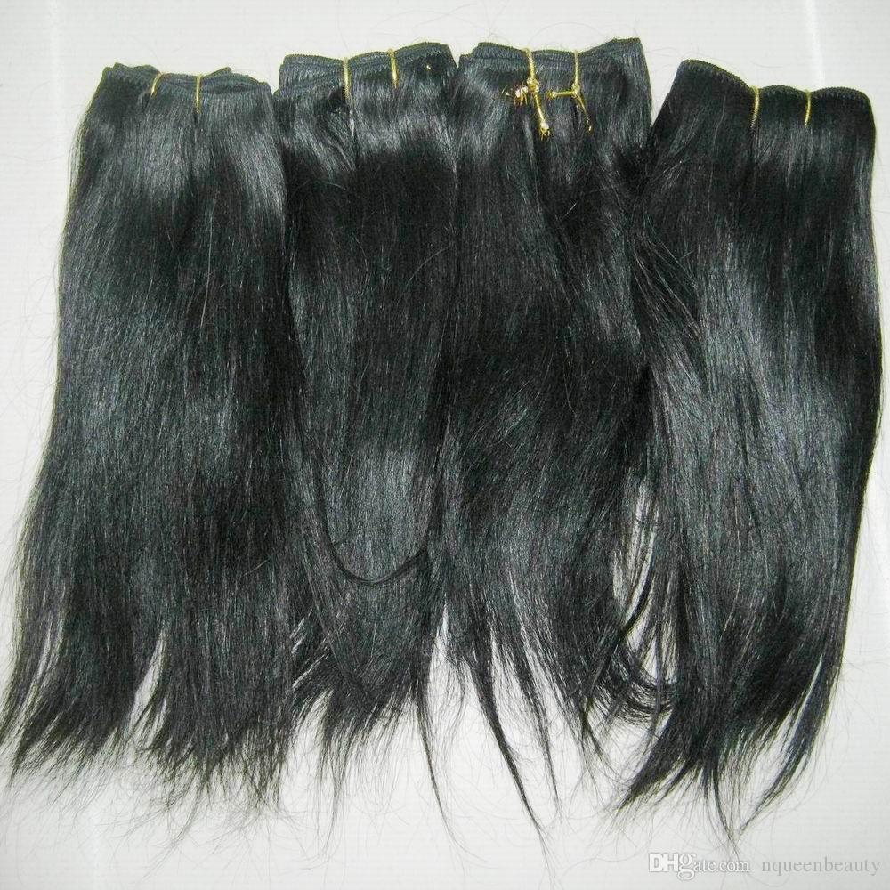 10 Ad Toptan Düz dalgalı Hint İşlenmiş İnsan Saç Uzatma Siyah rengi Ucuz fiyatı örgüleri