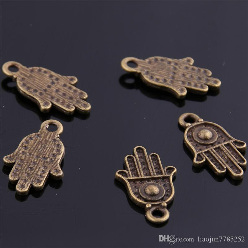 Sweet Bell Min order Charm Pendants Hamsa Hand /Palm Three color 12*20mm wholesale Jewelry Making Charms D6113-1