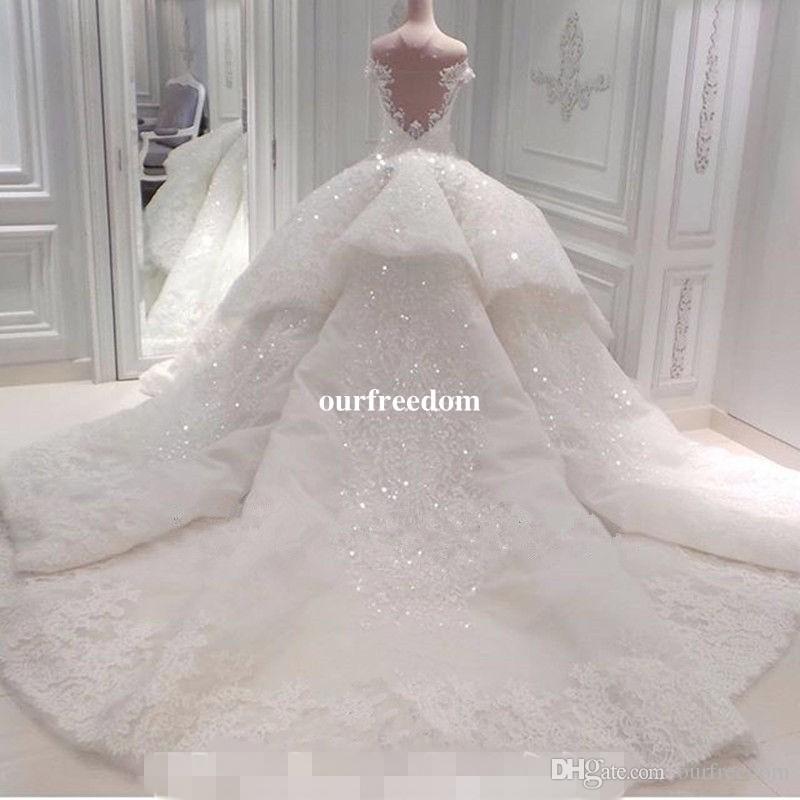 Robe De Bal Noiva Robes De Mariée 2019 De L'épaule Cathédrale Train Dentelle Appliques Robe De Mariée Pour Église Sur Mesure