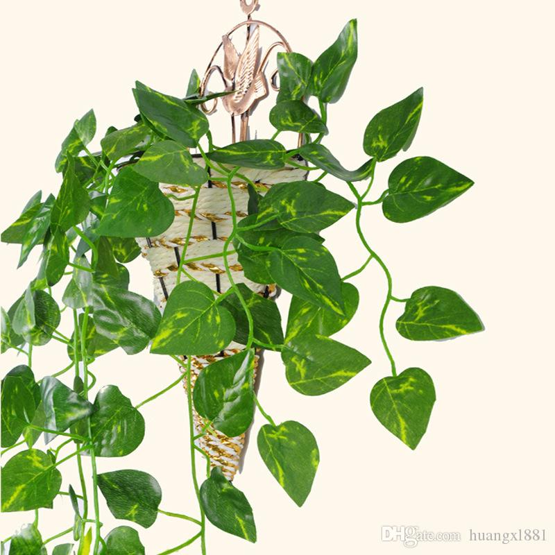 Leaf Vine Plastic Silk Cloth Hanging Artificial Leaf Ivy Fake Plants Vine Foliage Scindapsus Watermelon leaves Home Wedding Party Decoration