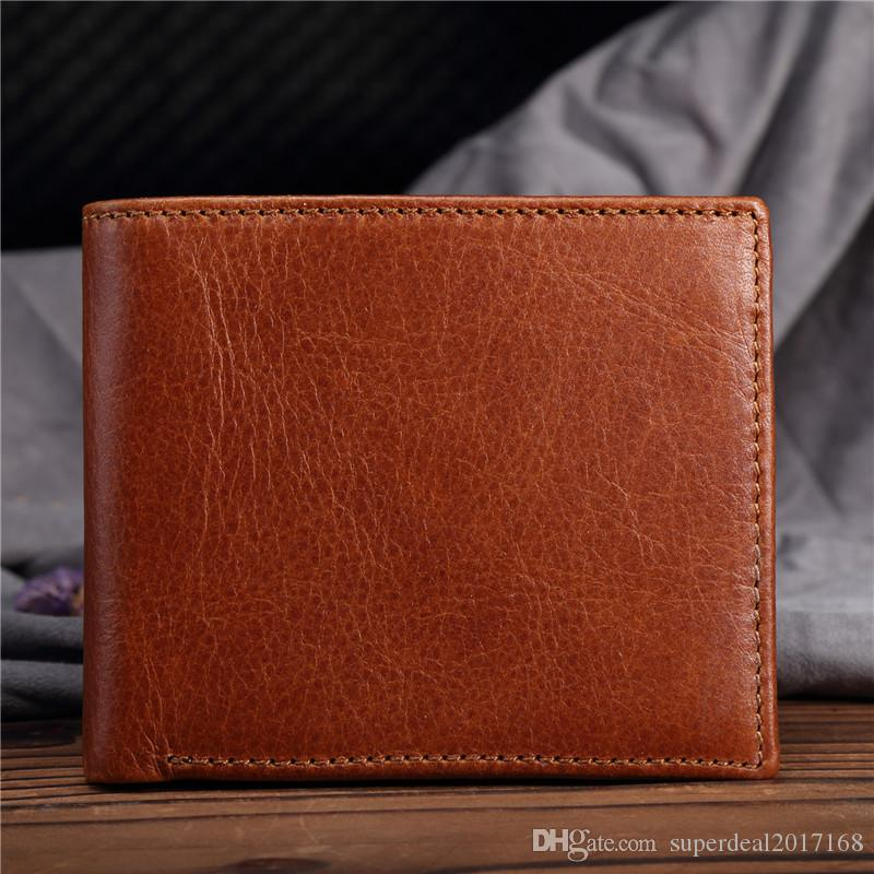 a4a2c0184e97 Vintage Male Genuine Leather Luxury Wallet Casual Short Designer Card Holder  Pocket Fashion Purse Wallets Small Man Wallet Mens Coin Purse Vegan Wallets  ...