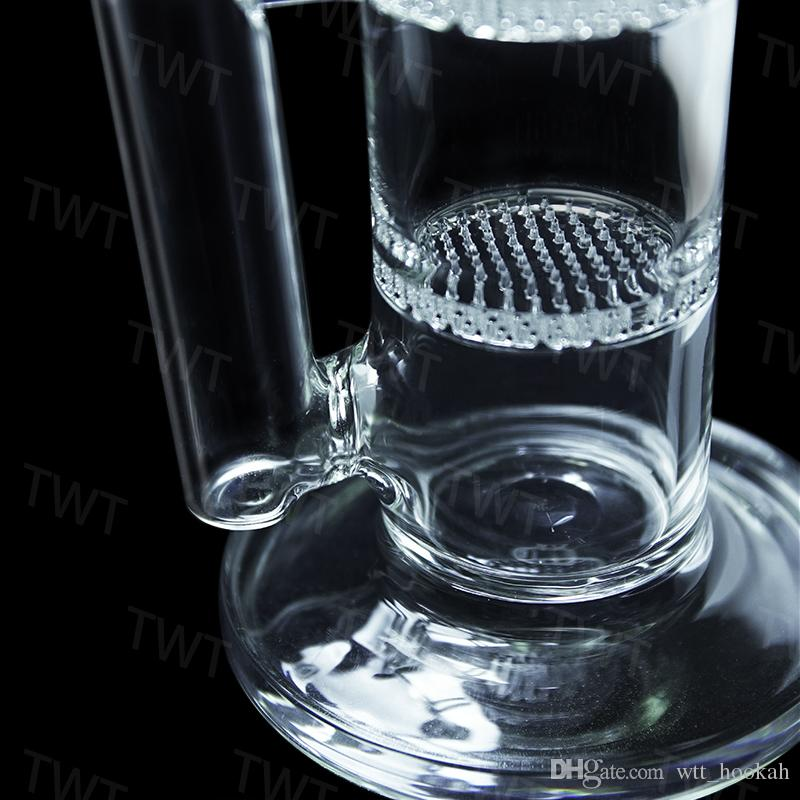 "Glass Bong water pipe 17"" inches Straight pure Tree Perc glass water pipe with three Honeycomb Tire Percolator Brand Quality"
