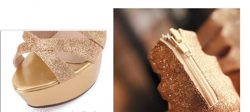 chaussures de mariage haut de la plate-forme robe de talon aiguille Argentées or Gladiator Sandales de ePacket Livraison gratuite
