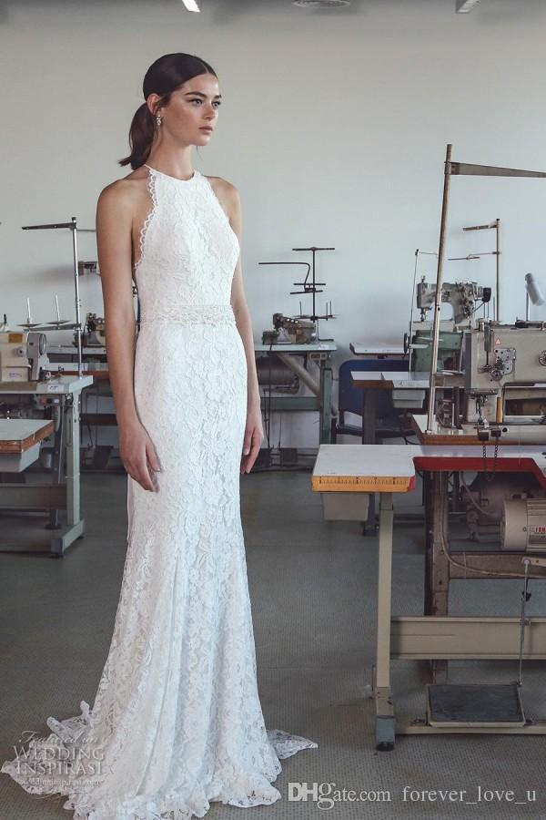 Land-Art-Strand-Hochzeit Kleid Mantel Spalte volle Spitze Neckholder ärmellos Brautkleider mit vorzüglichem wulstigen Perlen Schärpe Zuge