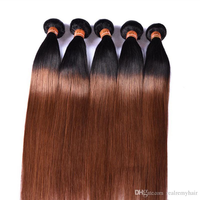 Cabello humano brasileño de Ombre 3 paquetes dos tonos 1B / 30 castaño castaño castaño barato extensiones brasileñas rectas brasileñas del pelo humano de la Virgen