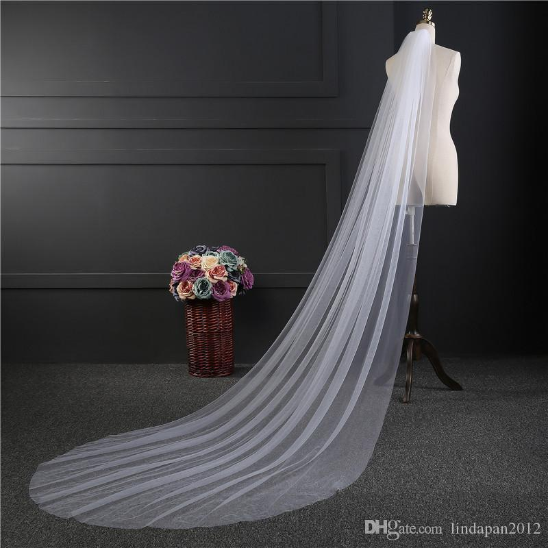 very cheap single layer Long tail wedding bridal church ceremony with comb chapel length white one layer nice veil cover
