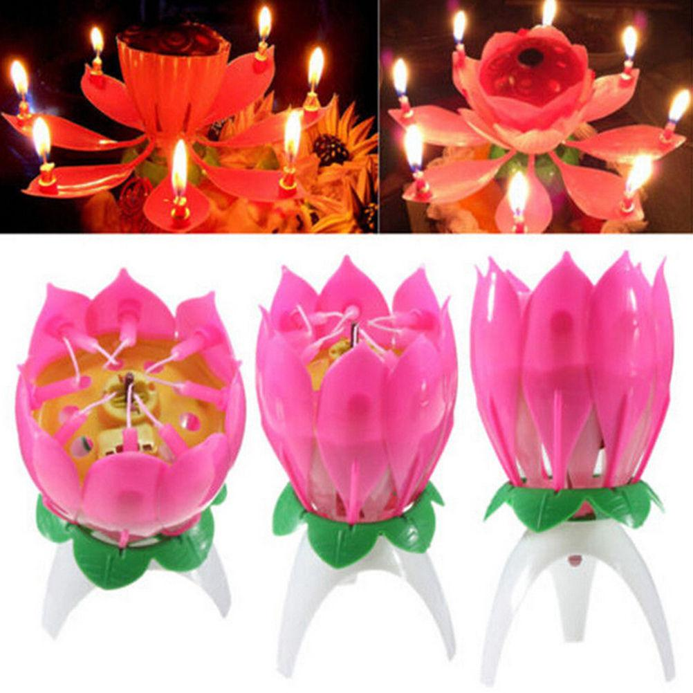 Musical Lotus Flower Flame Happy Birthday Cake Party Gift Lights Rotation Decoration Candles Lamp Surprise Black Glass Candle Holders Lantern