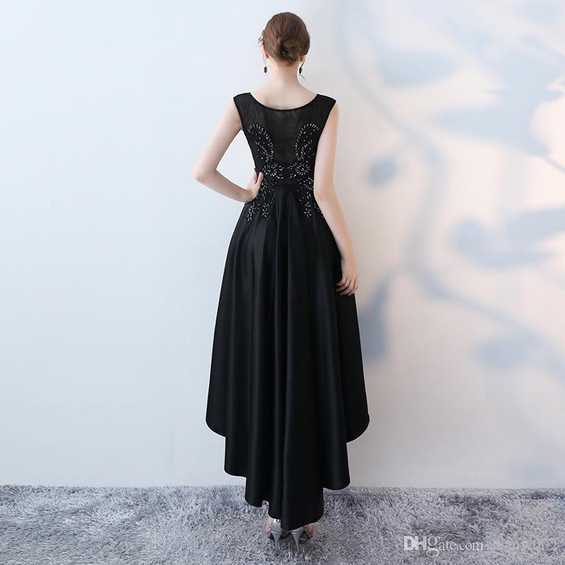Women High Low Stain Party Dress Scoop Neck Lace Prom Party Dresses Black Short Front Long Back Homecoming Dresses vestido de festa
