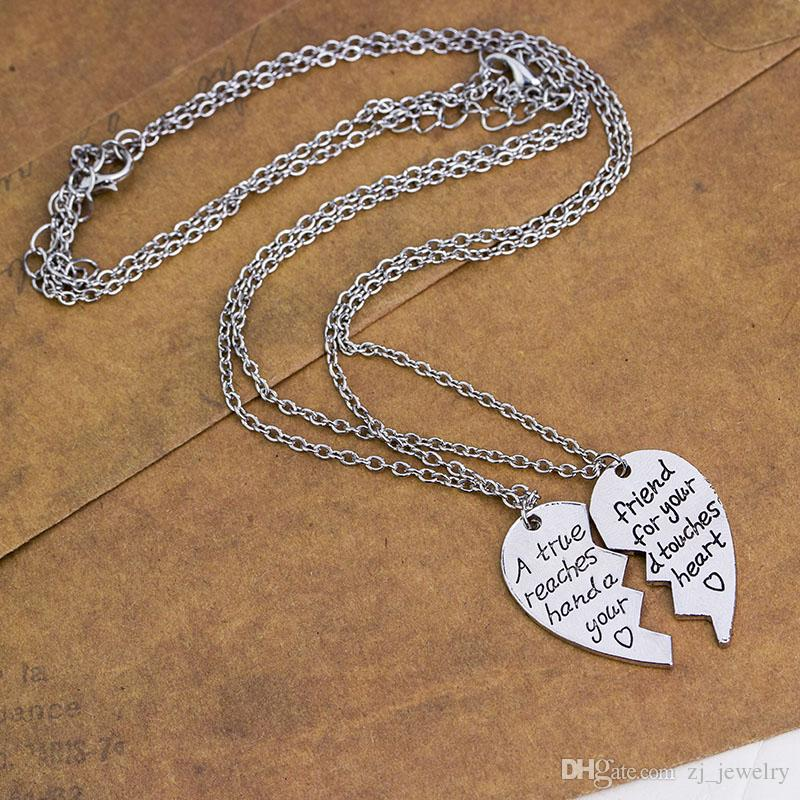 """""""A True Friend Reaches For Your Hand And Touches Your Heart"""" Broken Heart Pendant Necklace Set Best Friends BFF Jewelry Gift"""