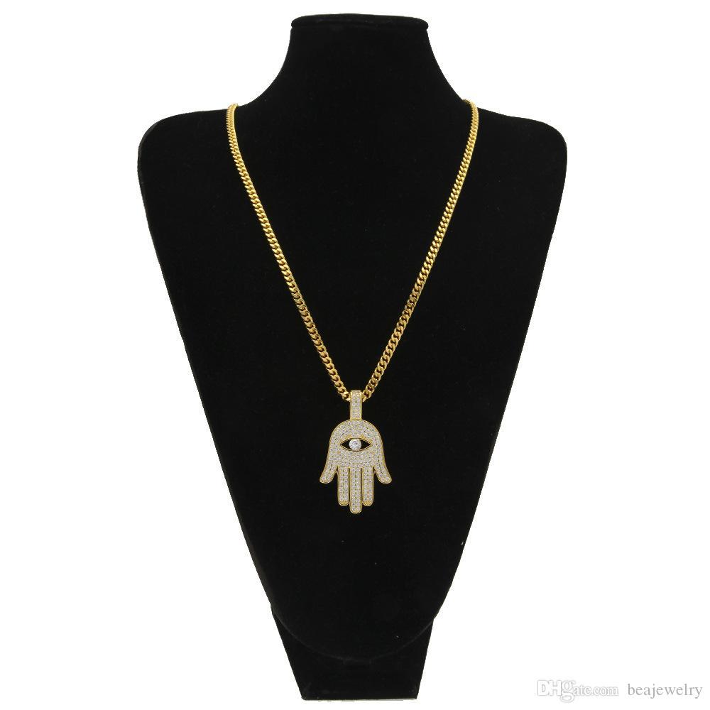 Iced Out Copper Hamsa Hand Anhänger mit Halskette KubikZircon Fatima Palm Halskette Hip Hop-Männer Frauen-Schmucksache-Tropfen-Verschiffen
