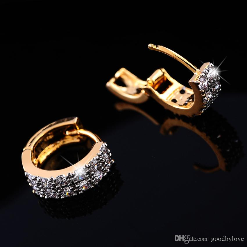 Doppelte Reihen Kristall Gepflasterte Gelbgold Überzogene Kleine Hoop Huggie Ohrringe Fashion Party Kostüm Schmuck für Frauen Geschenk