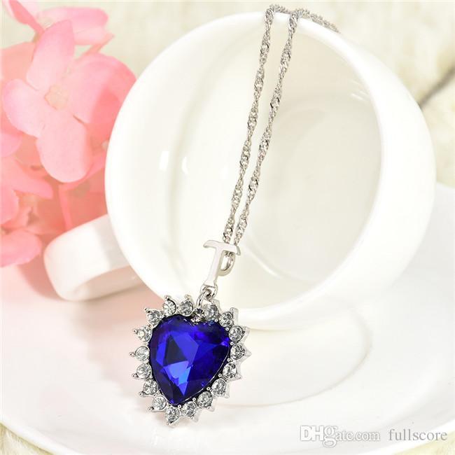 Fashion Women Lady Heart Of Ocean Titanic Blue Crystal Pendant Elegant Necklace for mon girlfriend gift