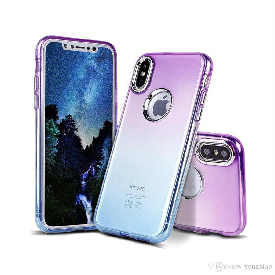 new concept b2bb8 9e996 For iphone X 5.8 inch iphonex Gradient Color Change Colour Soft Tpu  Blectroplated Button Case Slim Skin Transparent Back Cover Shell