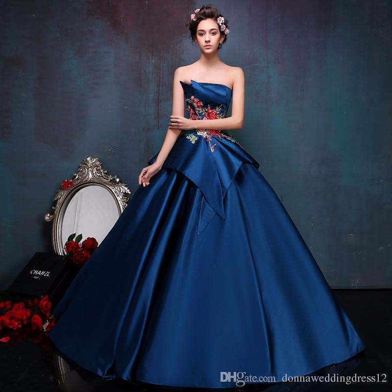 Vintage Stickerei Marineblau Satin trägerlosen Ballkleid Abendkleid 2017 weg von der Schulter offen zurück nach Maß hochwertige Prom Kleider
