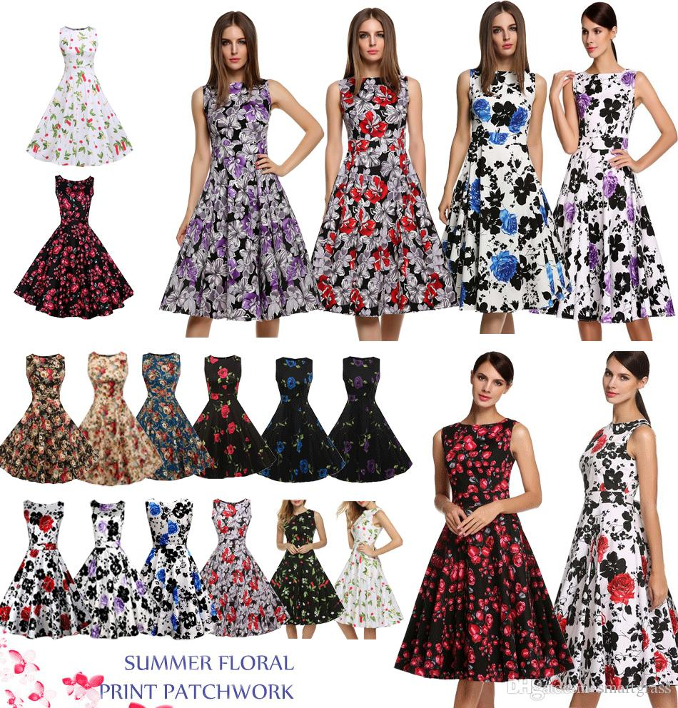 f6ce9accb65 Dresses For Women Sleeveless Knee Length Ladies Floral Printed Patchwork Summer  Dresses Women Clothes 14 Patterns Drop Shipping White Dress Skirt From ...