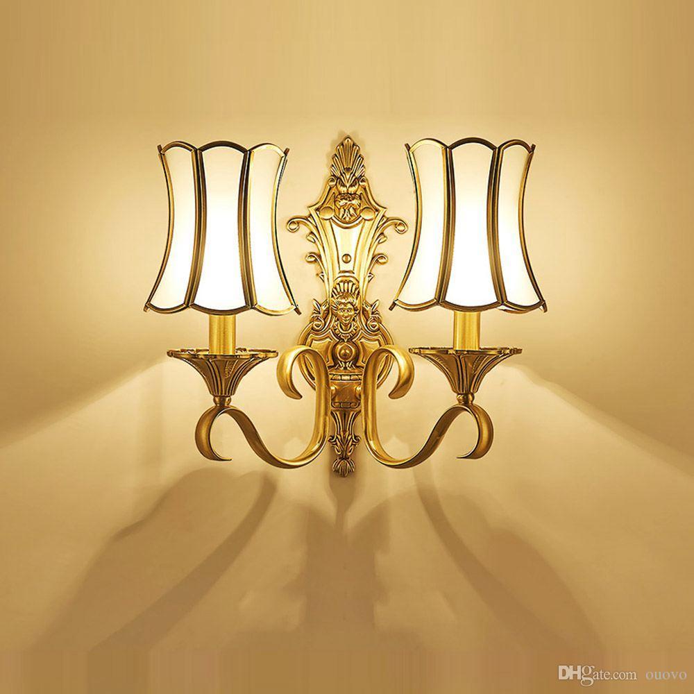 2018 European Luxury Pure Copper Living Room Wall Lamp Villa ...