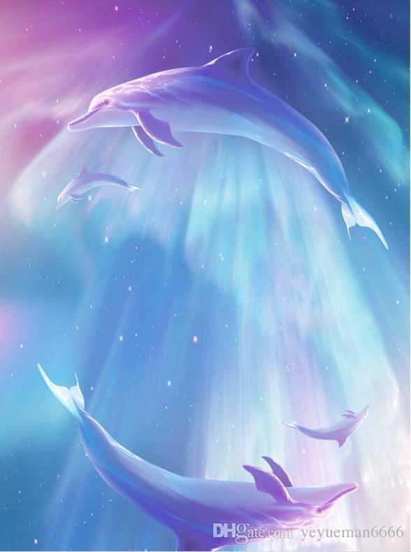 papel de parede 3d Animali Delfini Cartoon Dipinto Soffitto Murales Carta Da Parati Bambini Camera Pittura A Olio Wallpaper Soffitto 3d