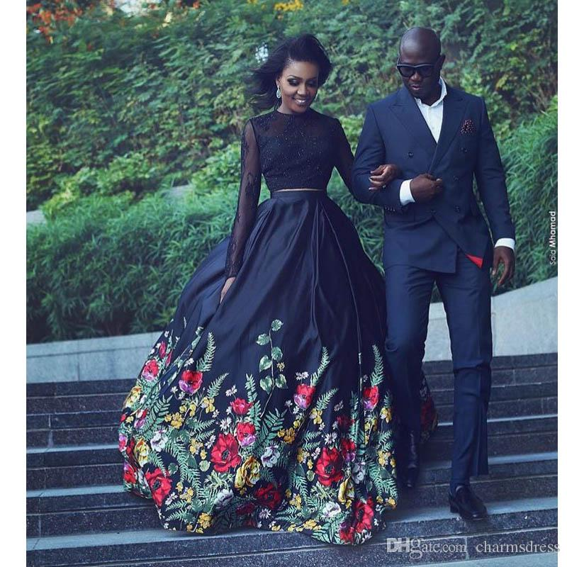 Black Floral Print Ball Gown Evening Dresses Long 2017 Long Sleeves