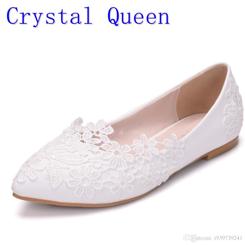 bc5aed88d5a1 Crystal Queen Ballet Flats White Lace Wedding Shoes Flat Heel Casual Shoes  Pointed Toe Women Wedding Princess Flats Plus Size 42 Shoe Boat Shoes From  ...