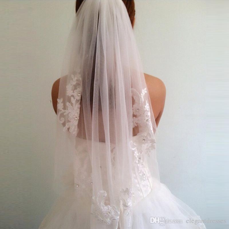 Doux Tulle Nouvelle Arrivée Diamant 2017 Taille-Longueur Voile Court Des Doigts De Mariage Voile De Mariée Accessoires Avec Peigne voile de mariage