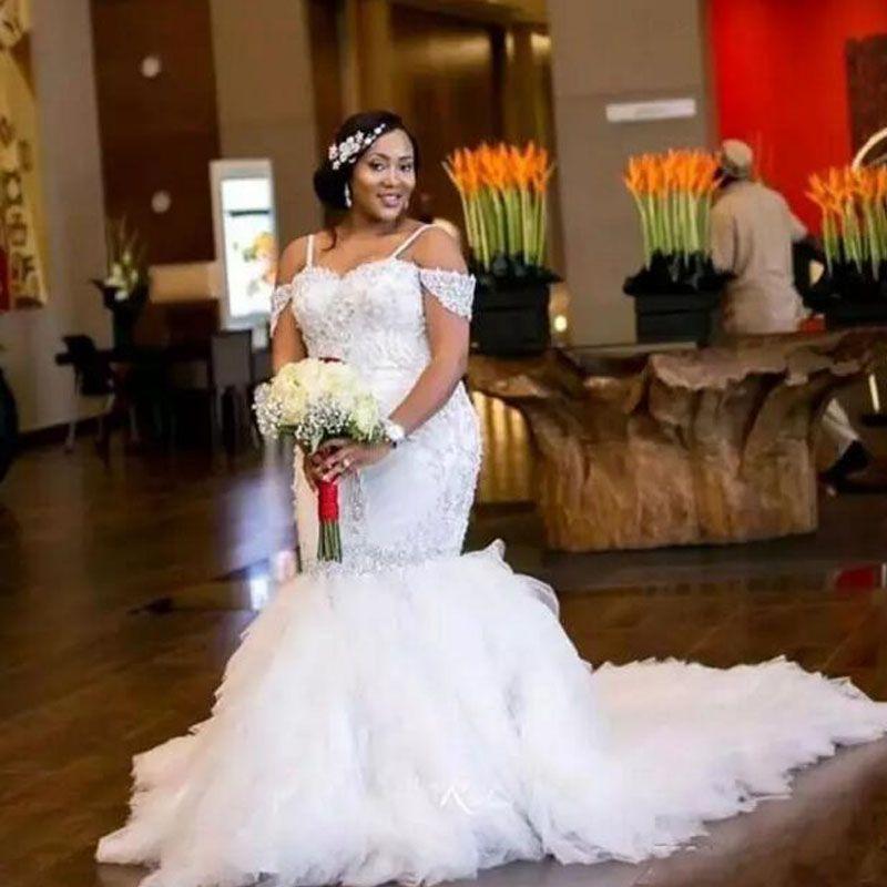 e7ce72224826b Sparkly African Wedding Dress Plus Size Mermaid Wedding Dresses Spaghetti  Straps Off The Shoulder Crystals Beas Appliques Ruffles Long Train Wedding  Dress ...
