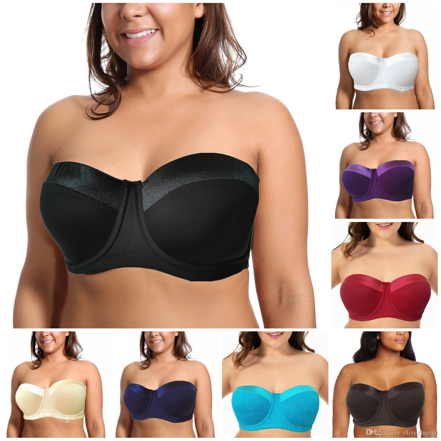 00bf552a42a0 2019 New Fashion High Quality 34 46 C D 1 2 Half Cup Seamless Bra  Adjustable Plus Big Size Push Up Women Sexy Bra Silicon Strapless H059 2  From Olivezhenyu