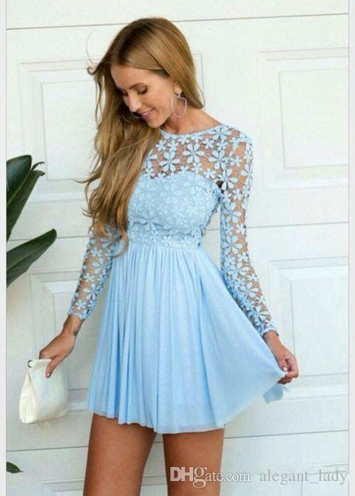 Sky Blue Long Sleeve Crochet lace chiffon Skater Short Prom Homecoming Dresses Summer Holiday Elegant Cheap Short Occasion prom gown