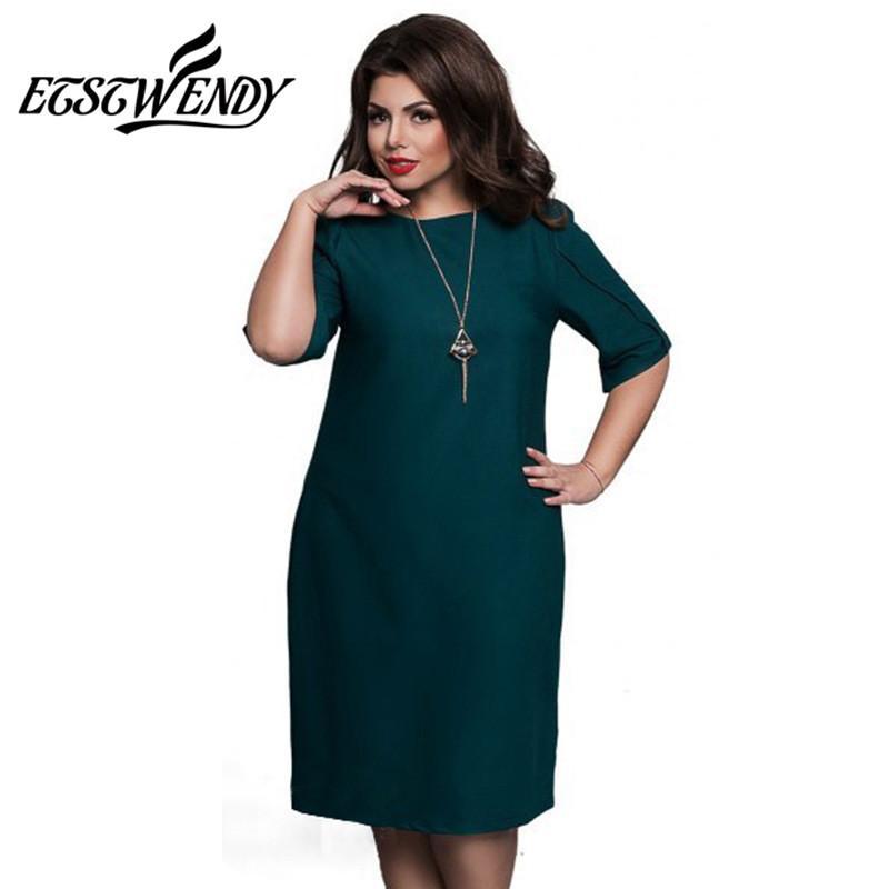 e46b04f8da51 Groß-6XL Large Size 2017 Sommerkleid Big Size Casual Büro Kleid Blau Rot  Grün Gerade Kleider Plus Size Frauen Kleidung Vestidos