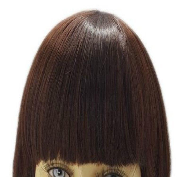 CB02 Medium Wavy Brown Wigs Capelli frangiati dritti donne nere bianche Parrucche sintetiche Pelucas Sinteticas Perruque Courte Peruca Pruiken Peruk