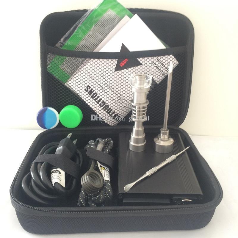Portable limande E clou quartz clou titane électrique dab clou oig dabber commande de température PID bong kits de forage boîte de herp sec